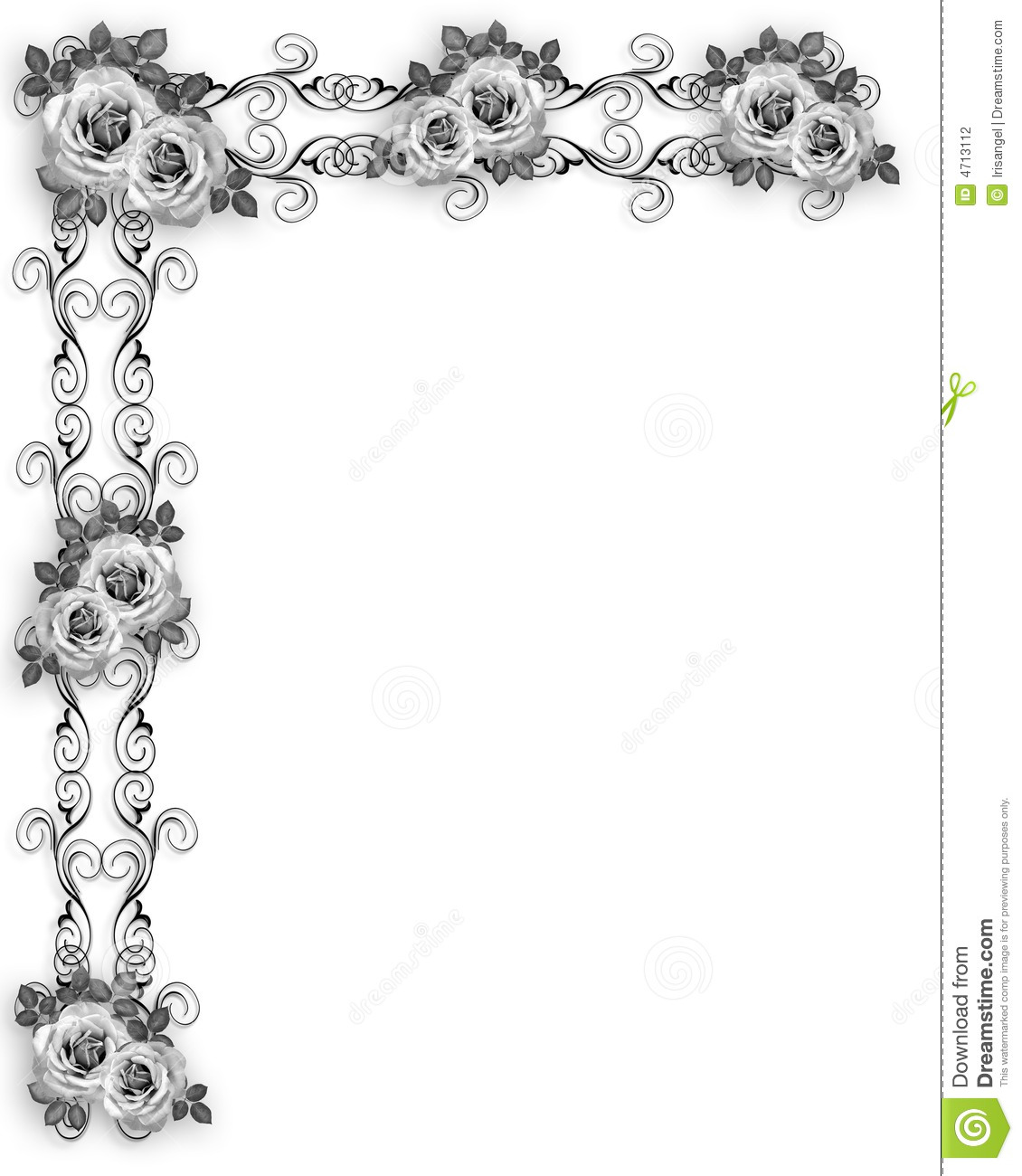 Roses Border Black And White Stock Photography