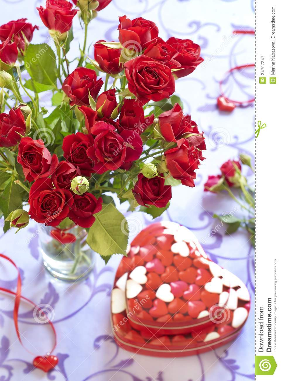 Roses And Gifts In Valentine Day Royalty Free Stock