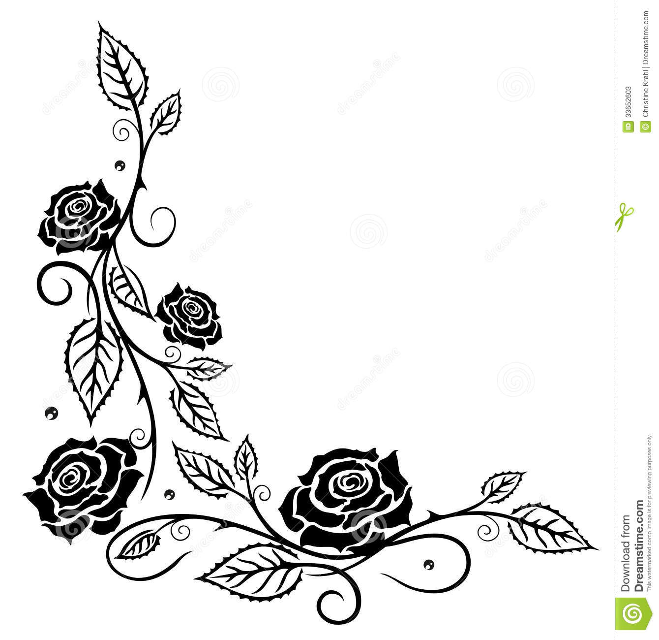 Roses Leaves Flowers Stock Vector Illustration Of