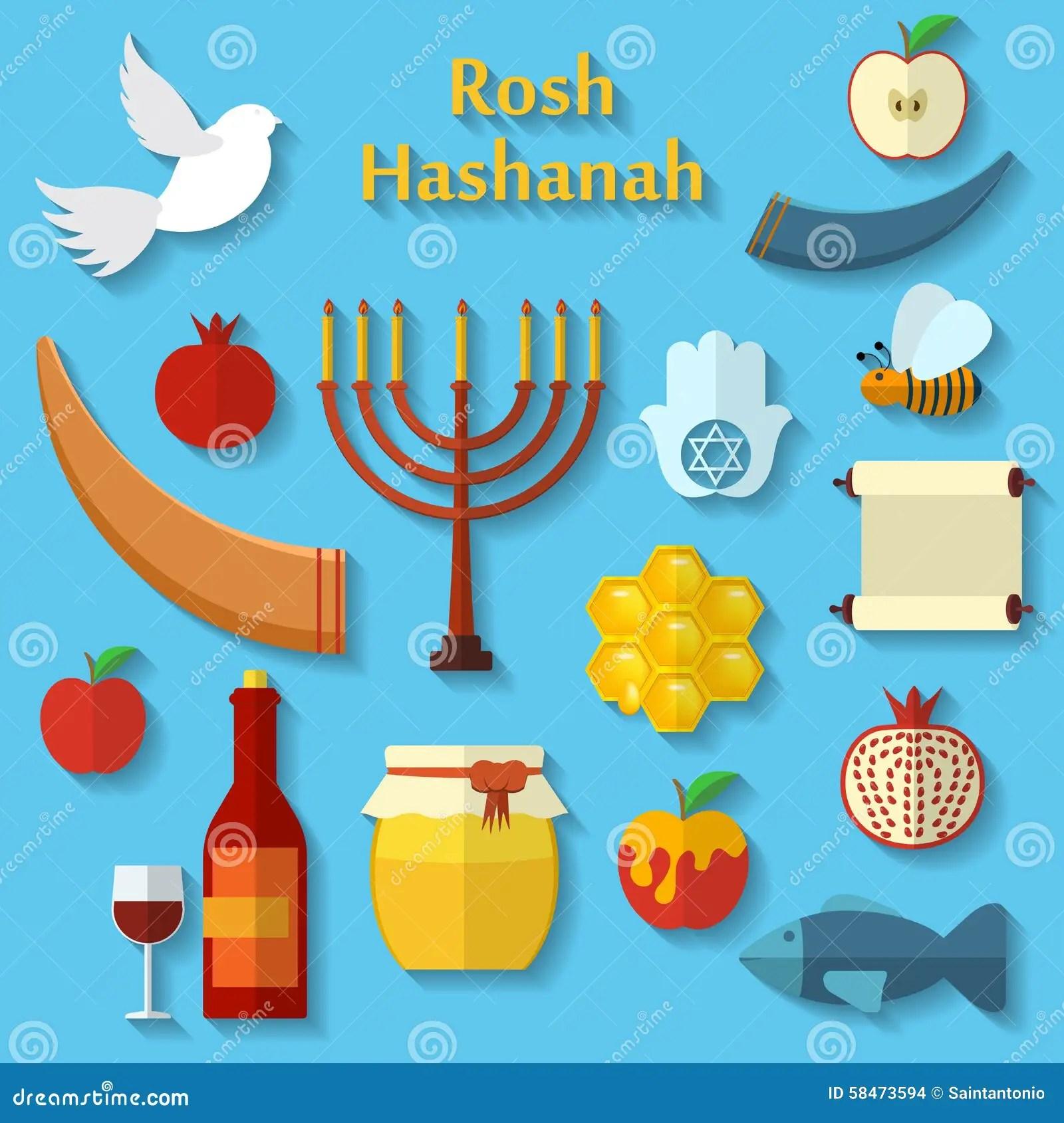 Rosh Hashanah Shana Tova Or Jewish New Year Flat Vector Icons Set With Honey Apple Fish Bee