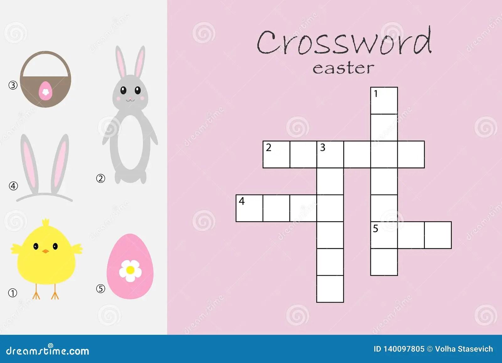 Rossword For Children Easter Theme Fun Education Game