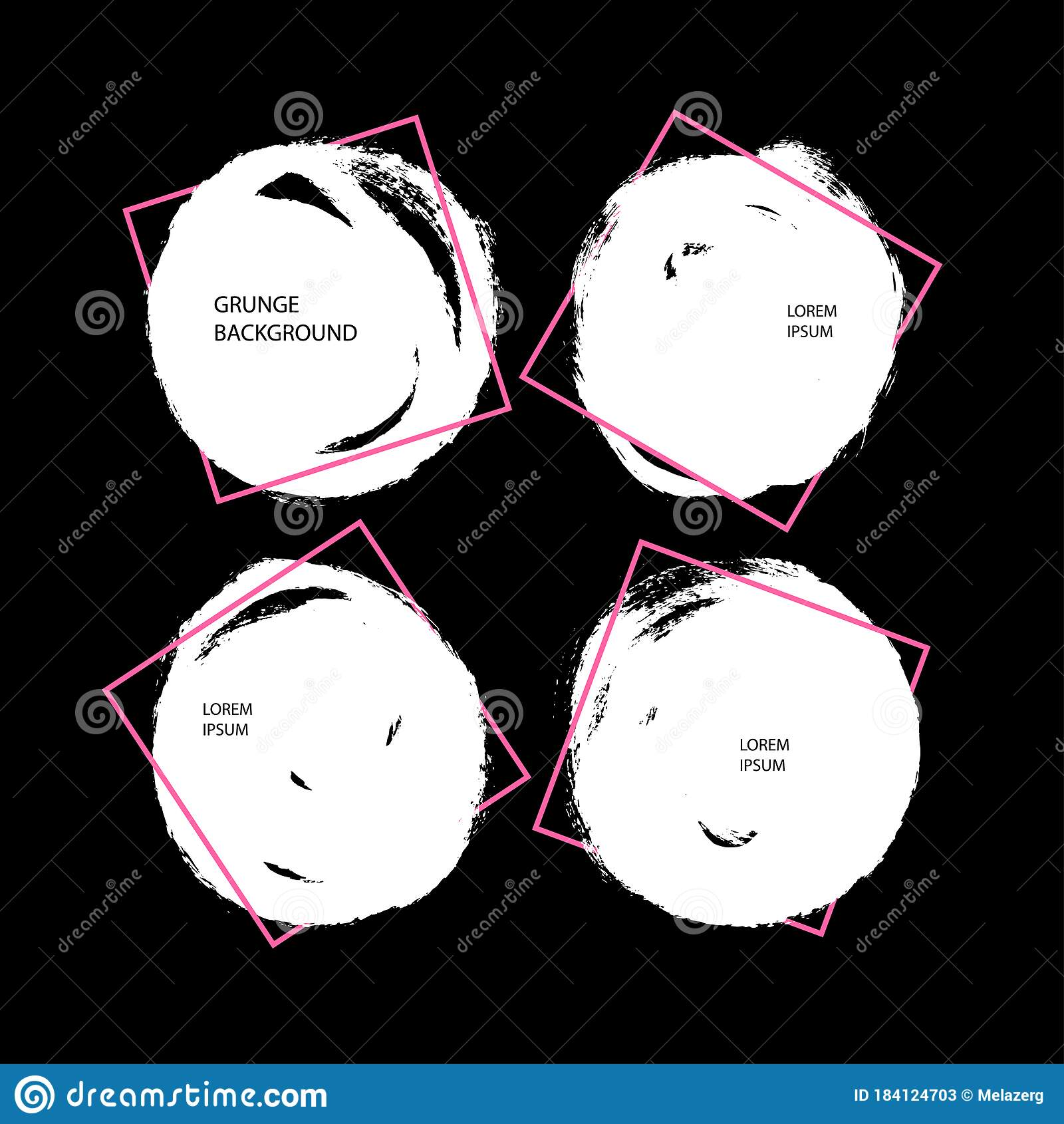 Round Brush Strokes With Geometric Frame Stock Vector