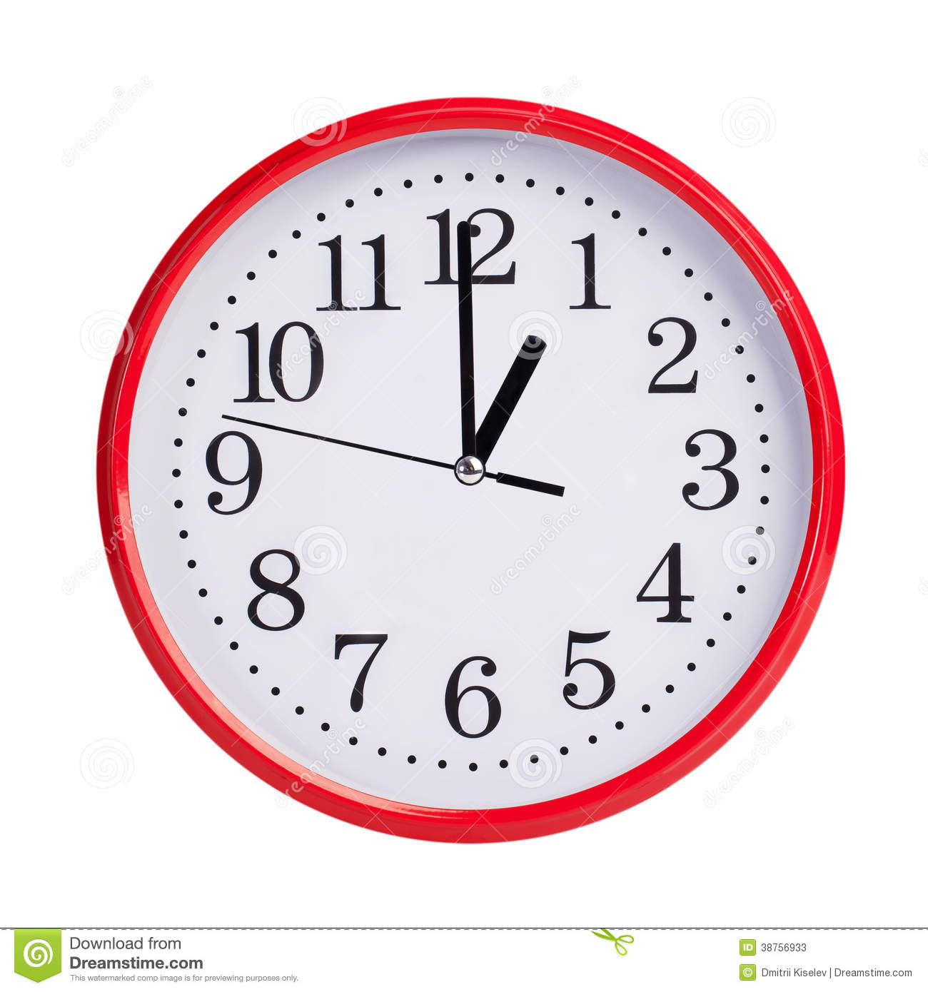 Round Clock Shows Exactly One O Clock Stock Image