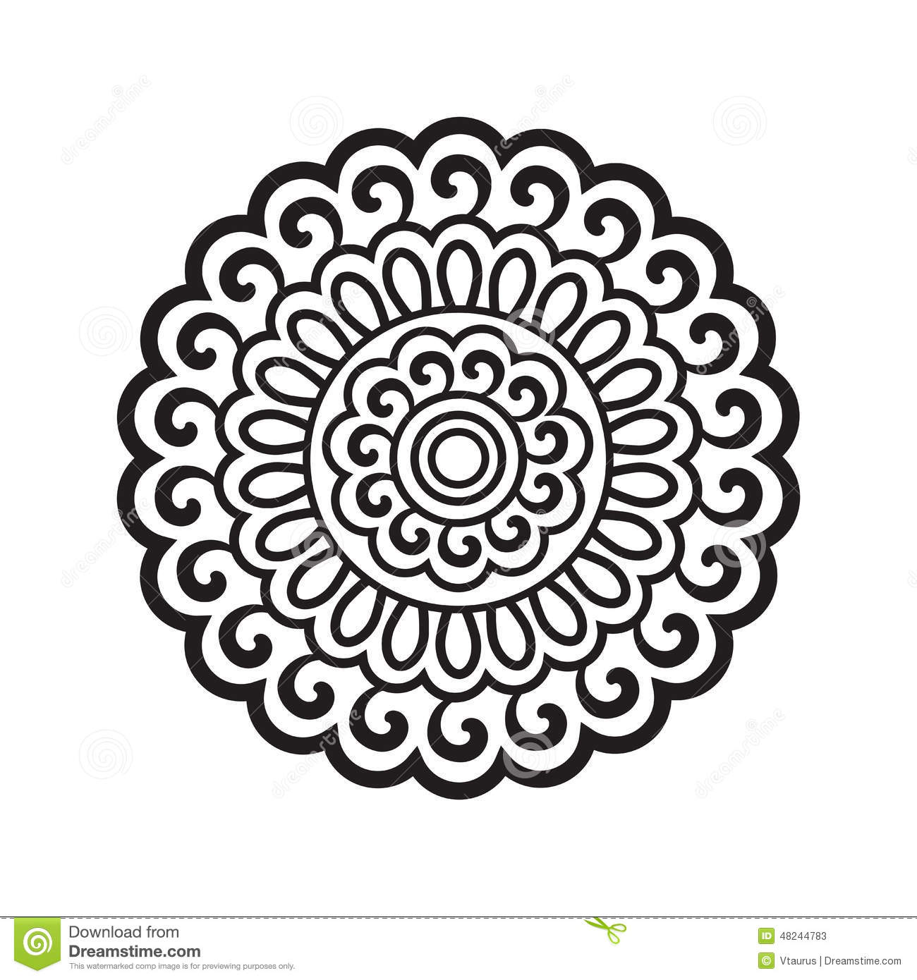 Round Pattern In Oriental Style Stock Vector