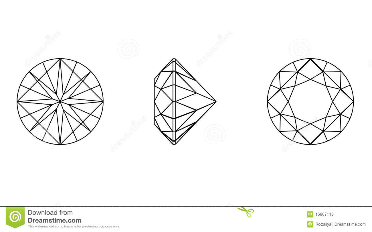 Round Shapes Of A Gemstone Wireframe Royalty Free Stock