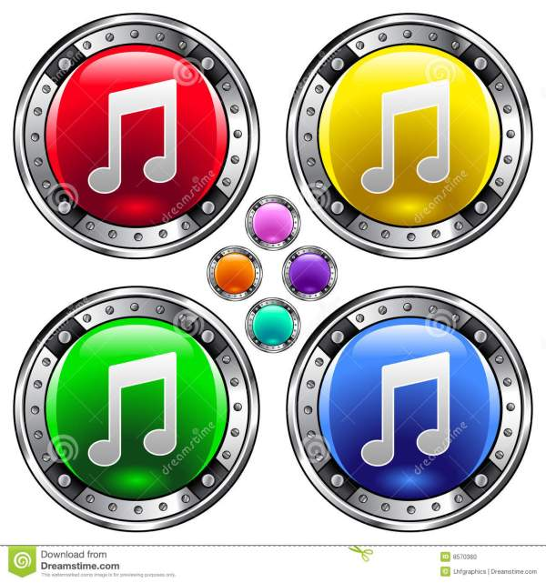 Round Vector Button Set With Music Note Ico Stock Vector