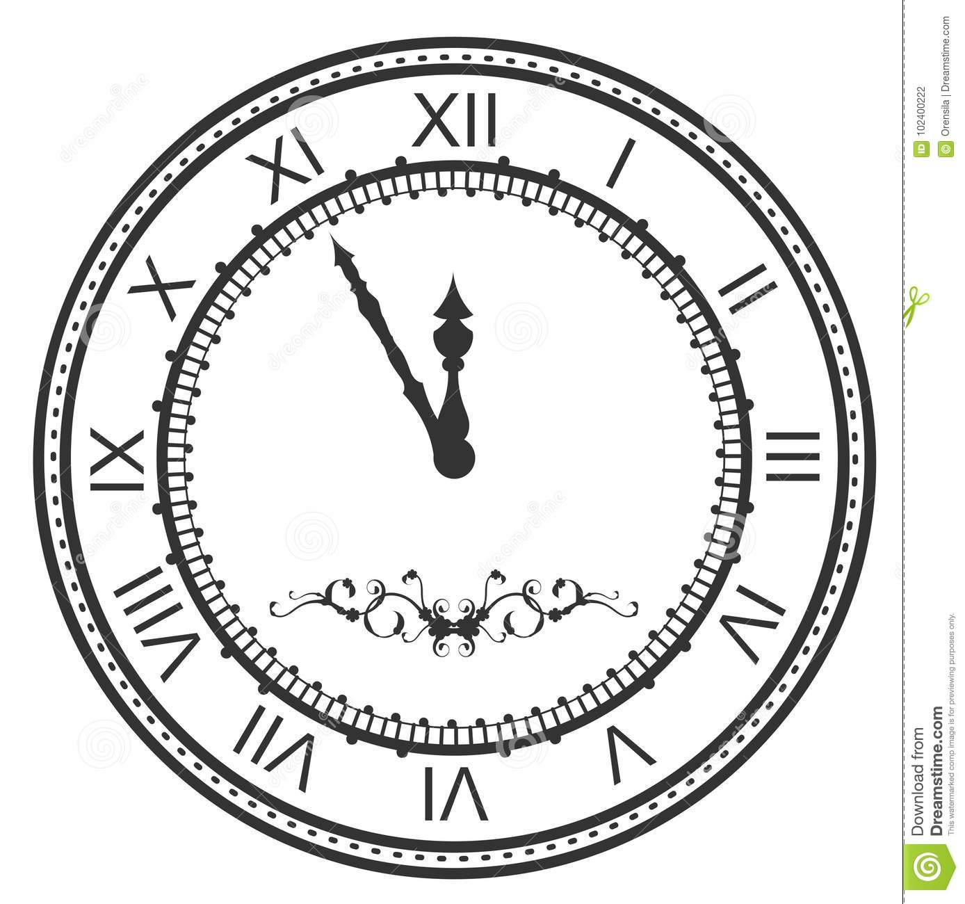 Round Watch Dial At Five Minutes To Midnight New Year Eve