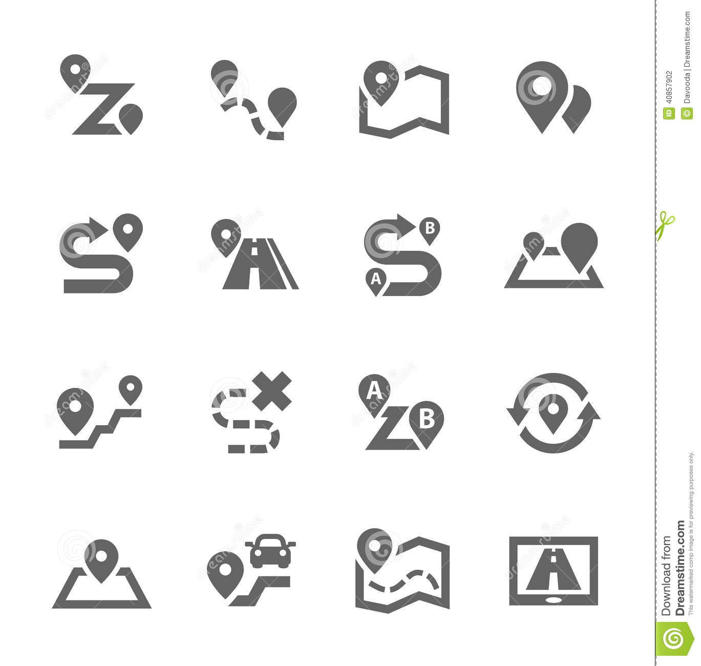 Route Icons Stock Vector