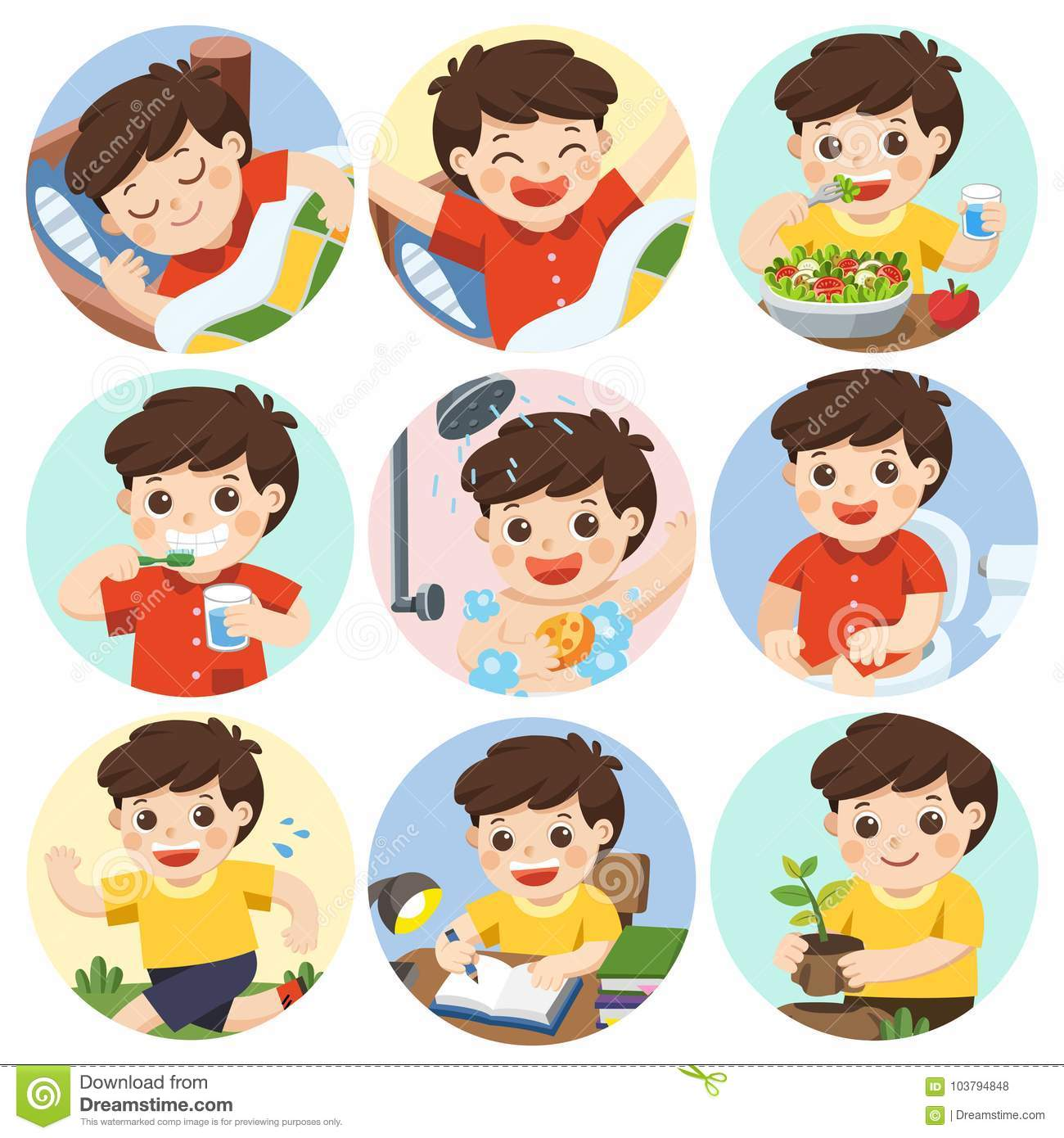The Daily Routine Of A Cute Boy Stock Vector