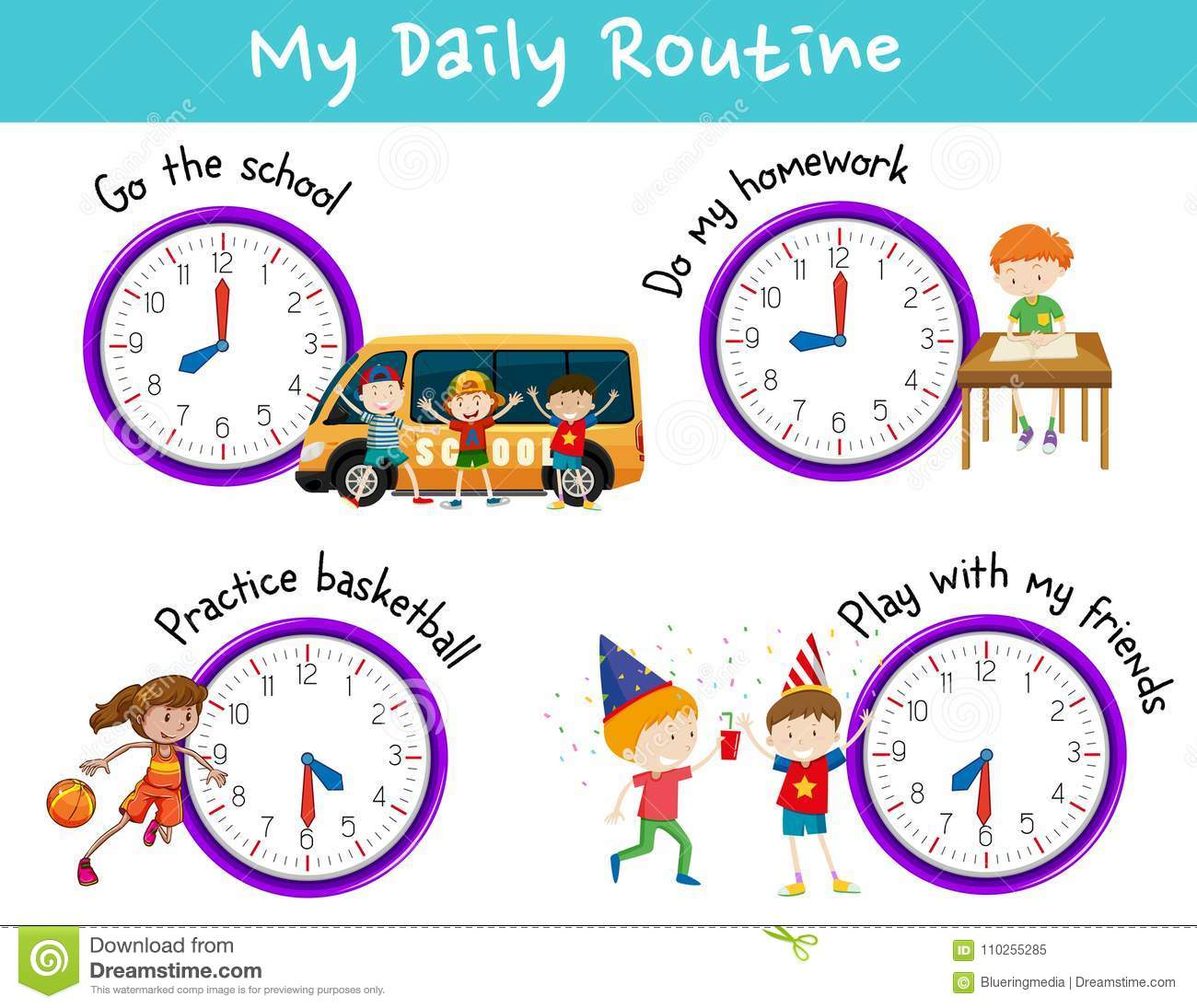 Daily Routine For Kids With Clock And Activities Stock