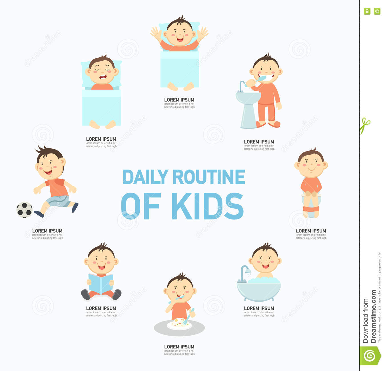 Daily Routine Of Kids Infographic Illustration Stock