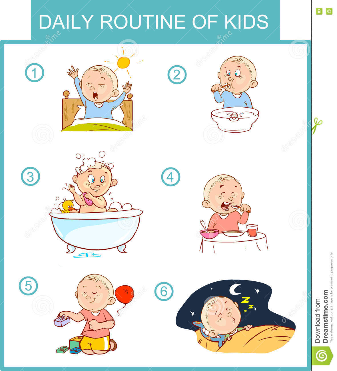 Daily Routine Of Kids Vector Illustration Stock Vector