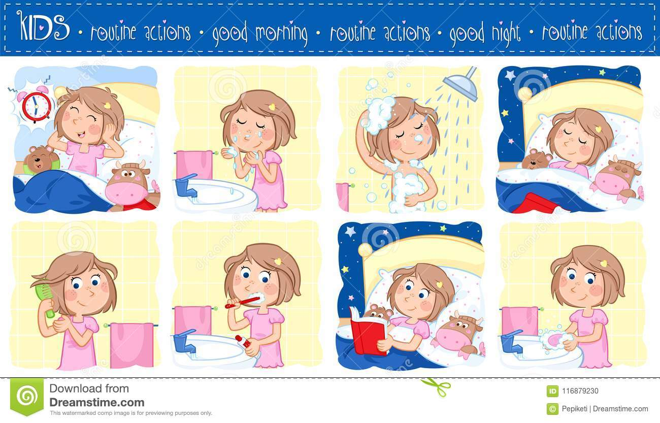 Daily Routine Of A Little Girl With Light Brown Hair
