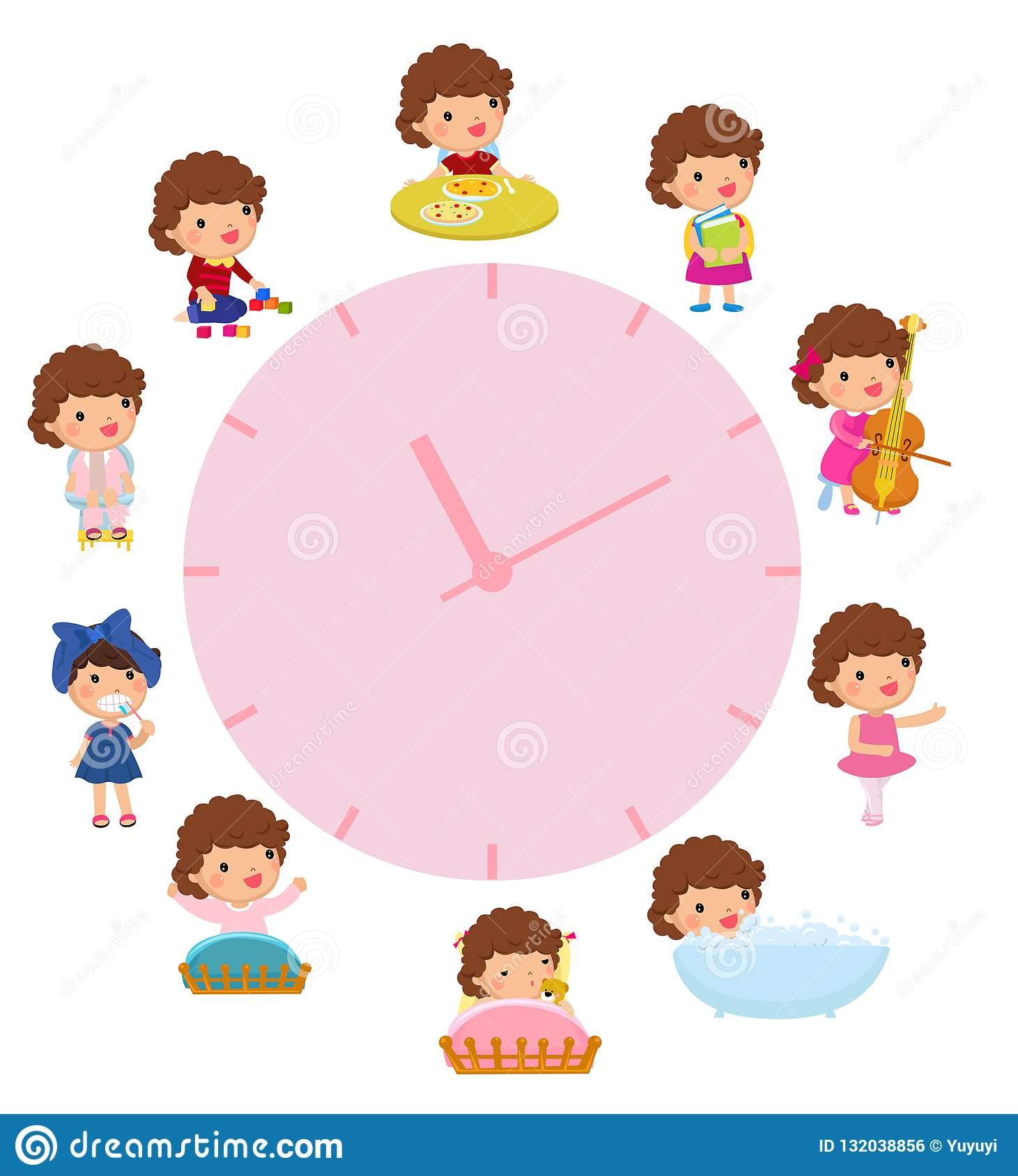 Daily Routine With Simple Watches Vector Set With Baby