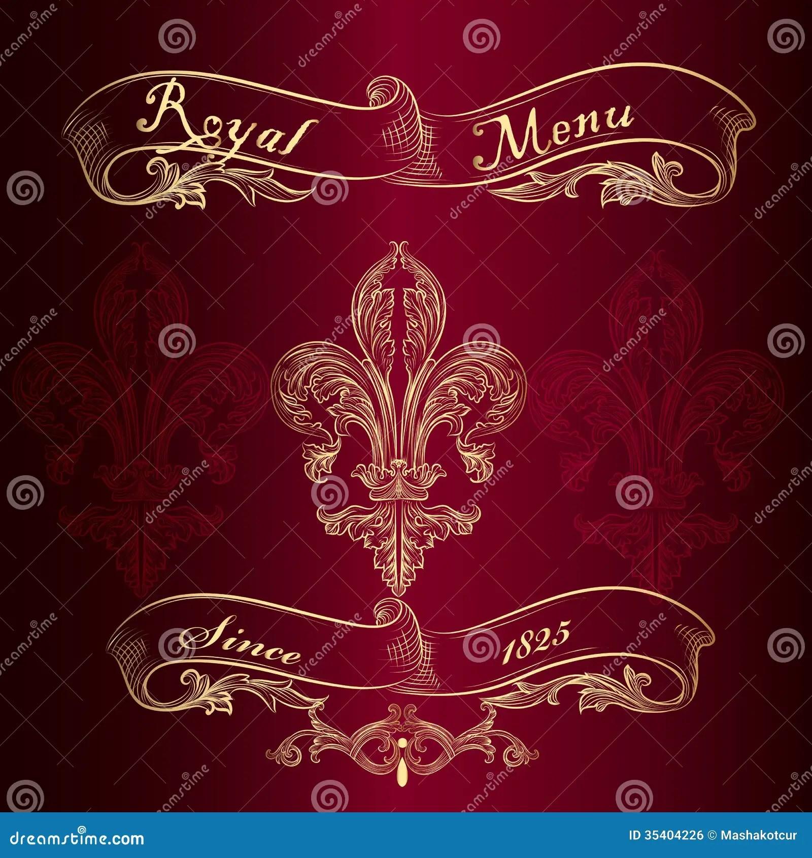 Royal Menu Design With Fleur De Lis Stock Vector Image