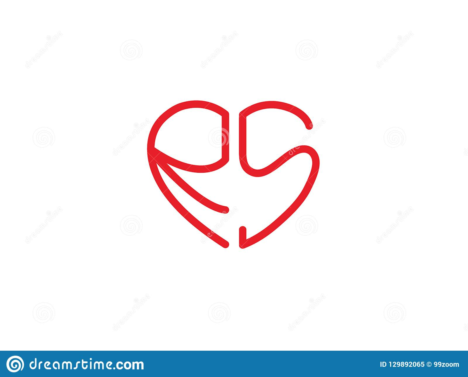 Rs Initial Heart Shape Red Colored Love Logo Stock Vector