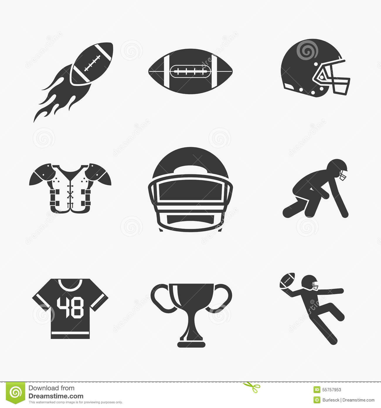Rugby And American Football Icons Stock Vector