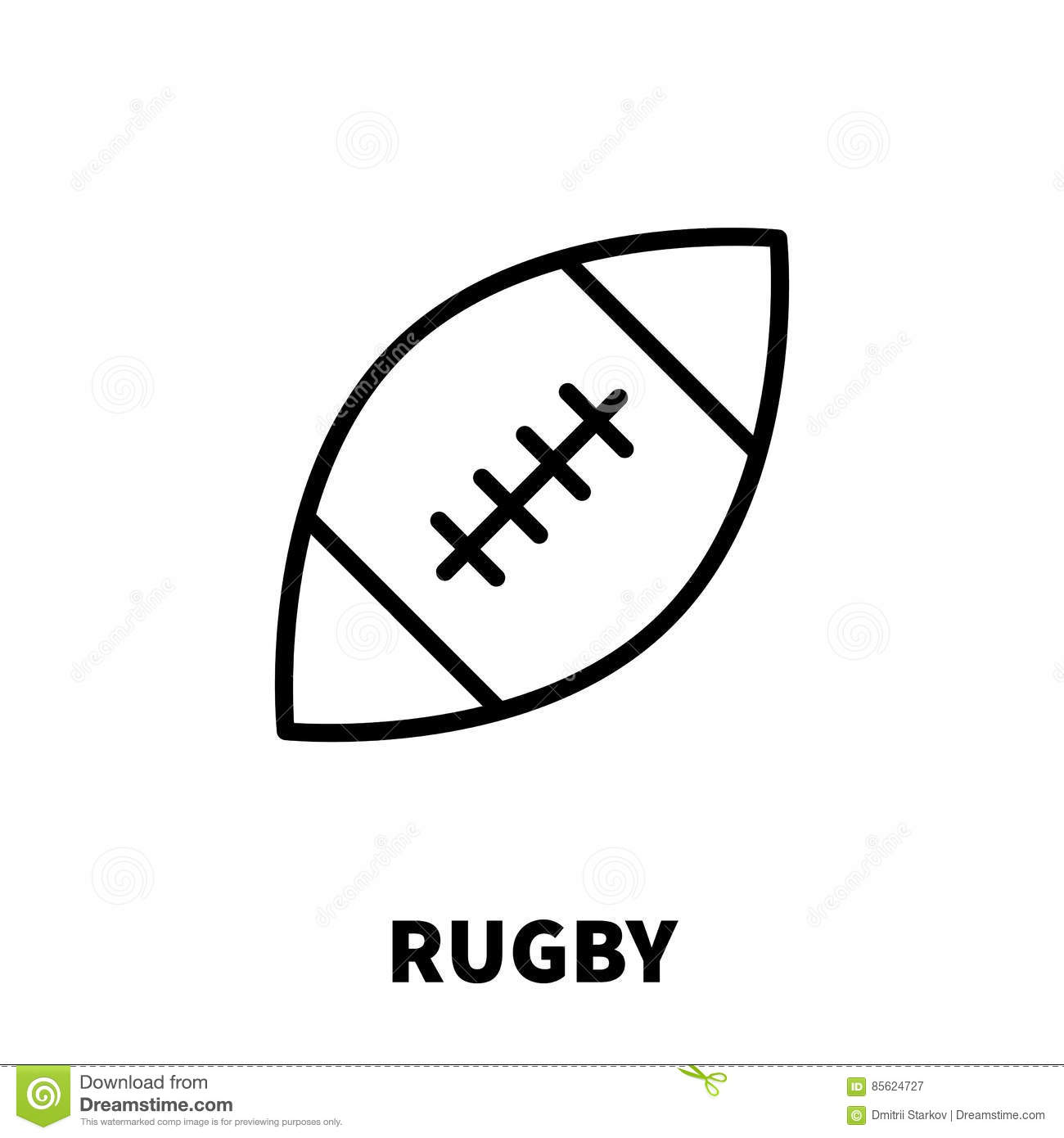 Rugby Ball Icon Simple Style Vector Illustration