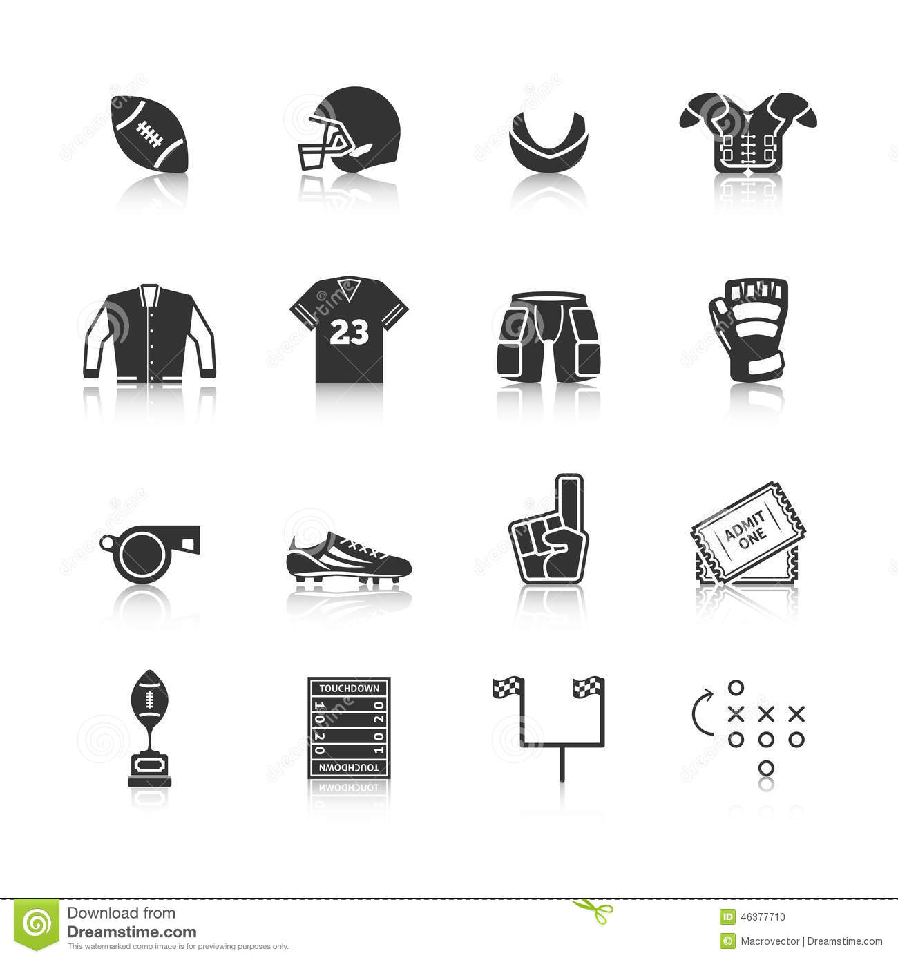 Rugby Icons Set Stock Vector