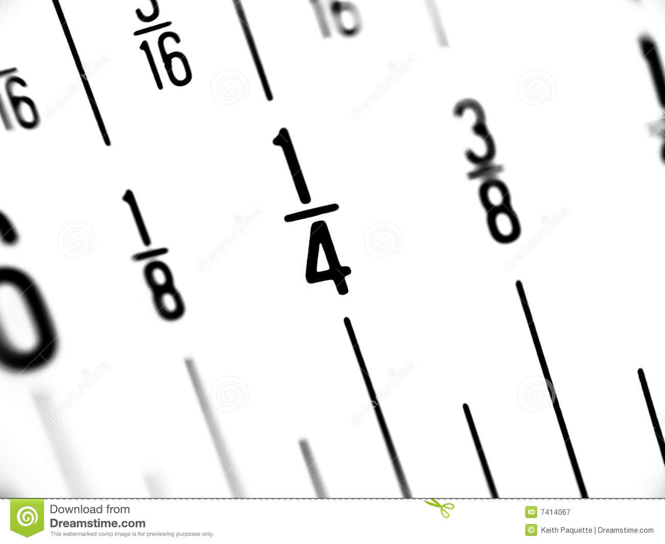 Ruler In Fractions Of Inches Stock Image