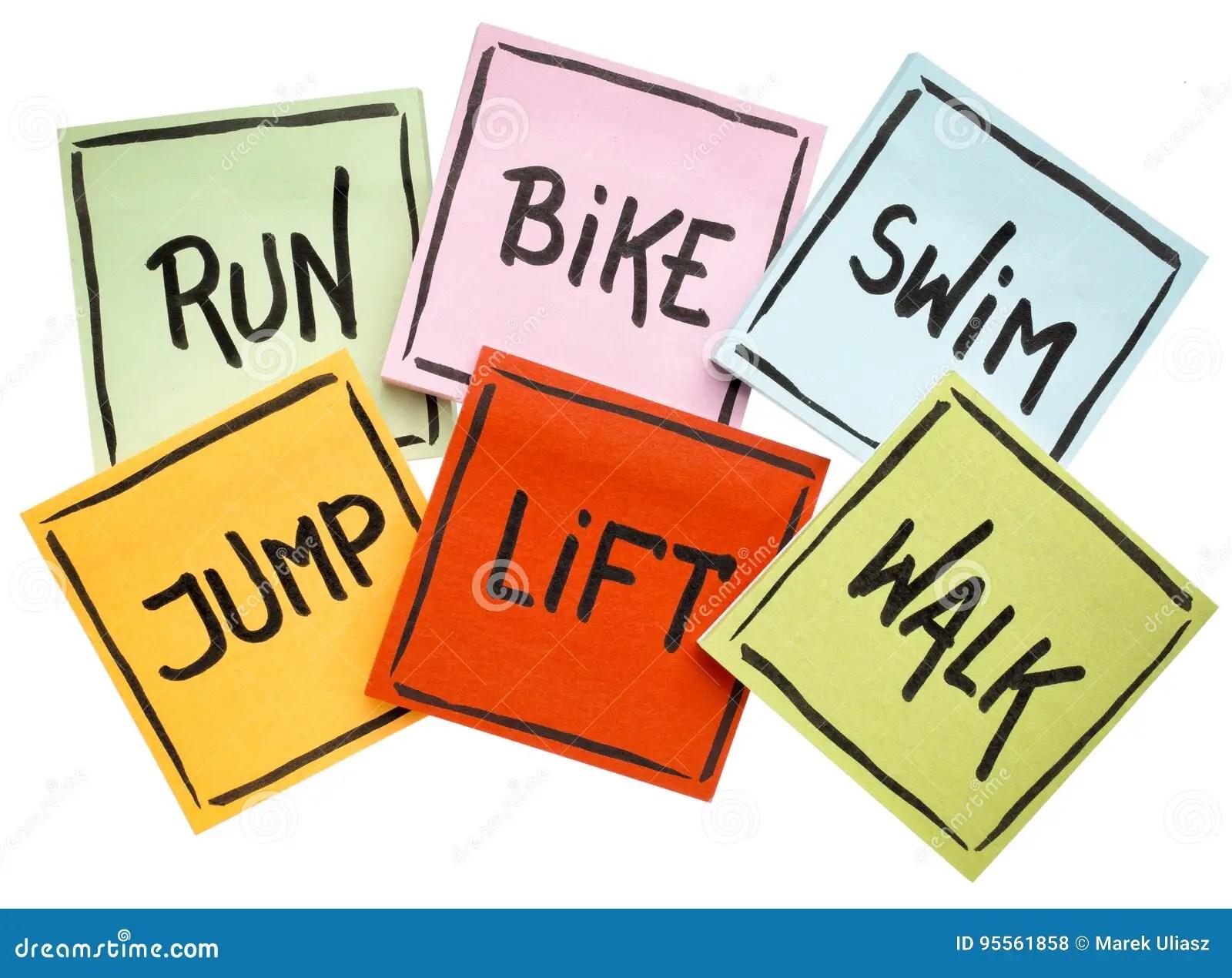 Run Bike Swim Jump Lift Walk
