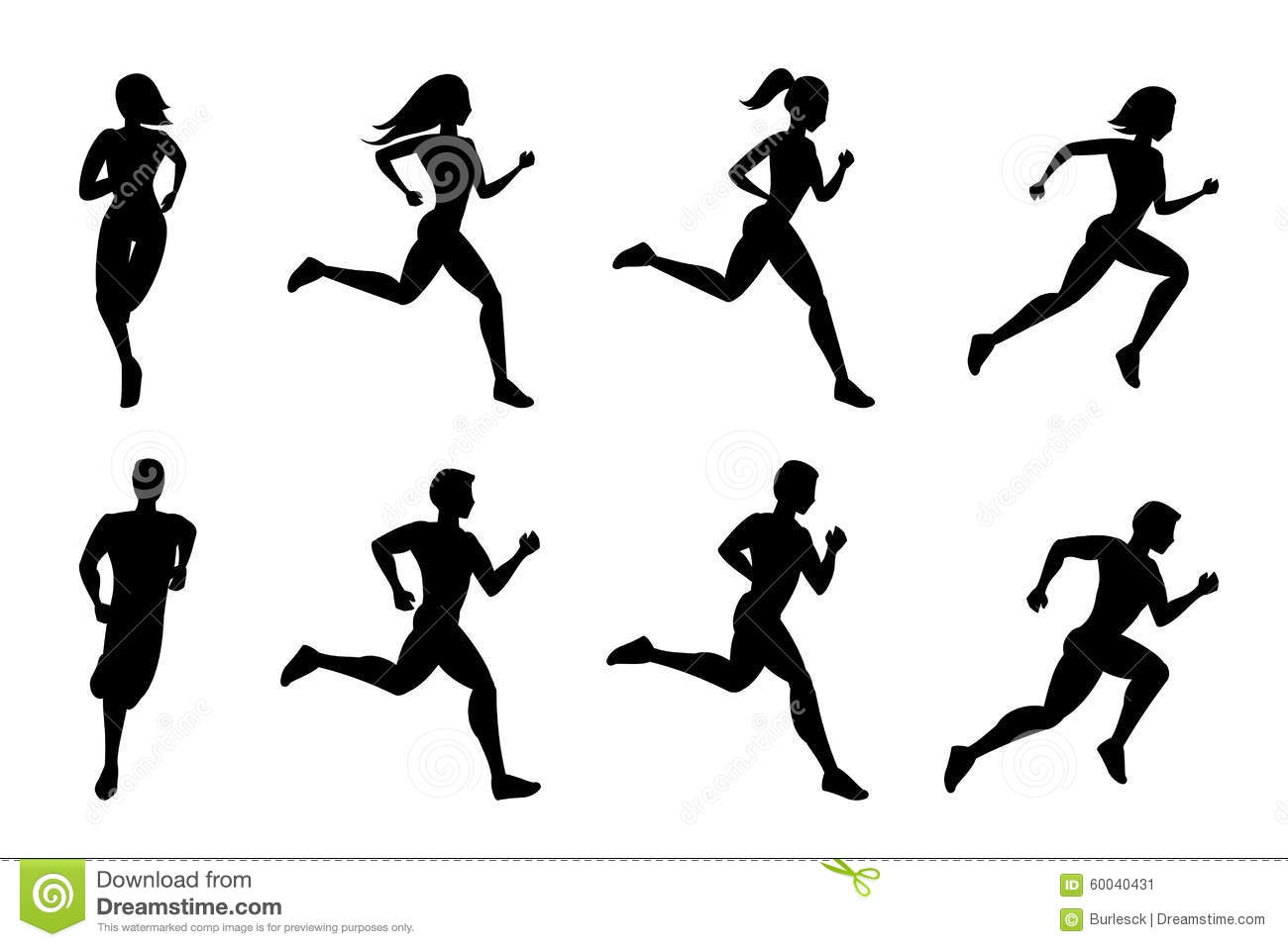 Running People Silhouettes Stock Vector