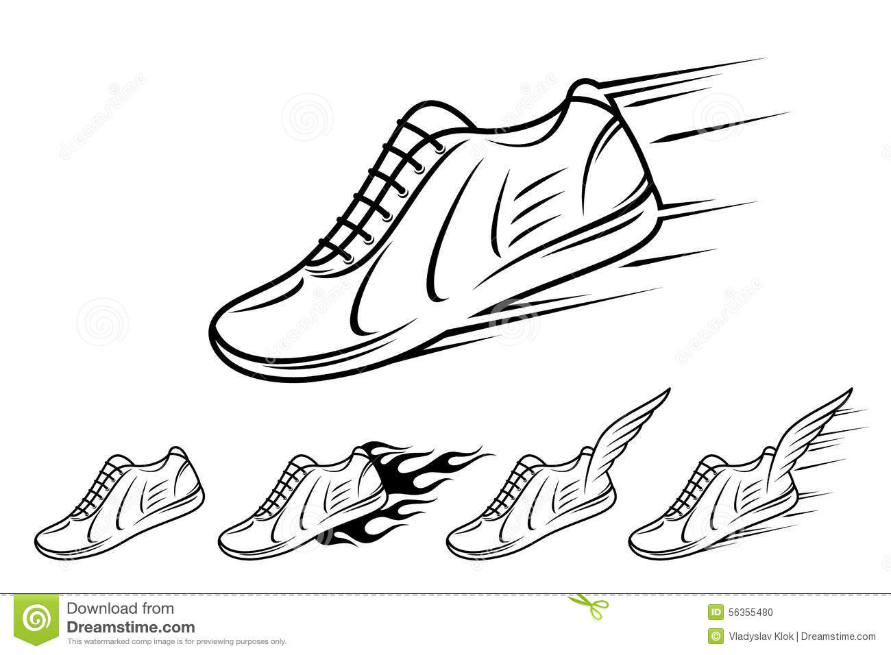 Running Shoe Icons With Speed Motion And Fire Trails