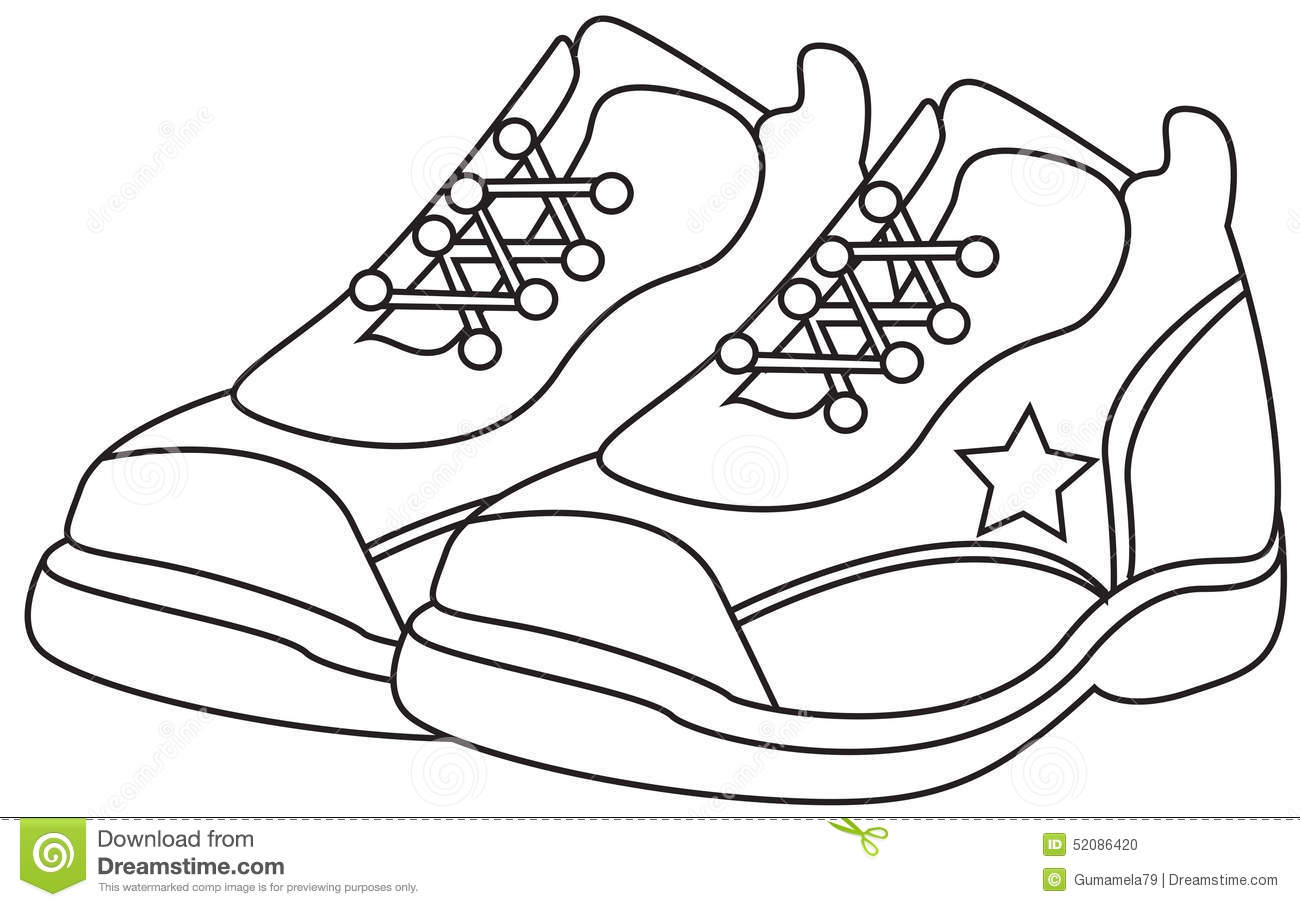Running Shoes Coloring Page Stock Illustration