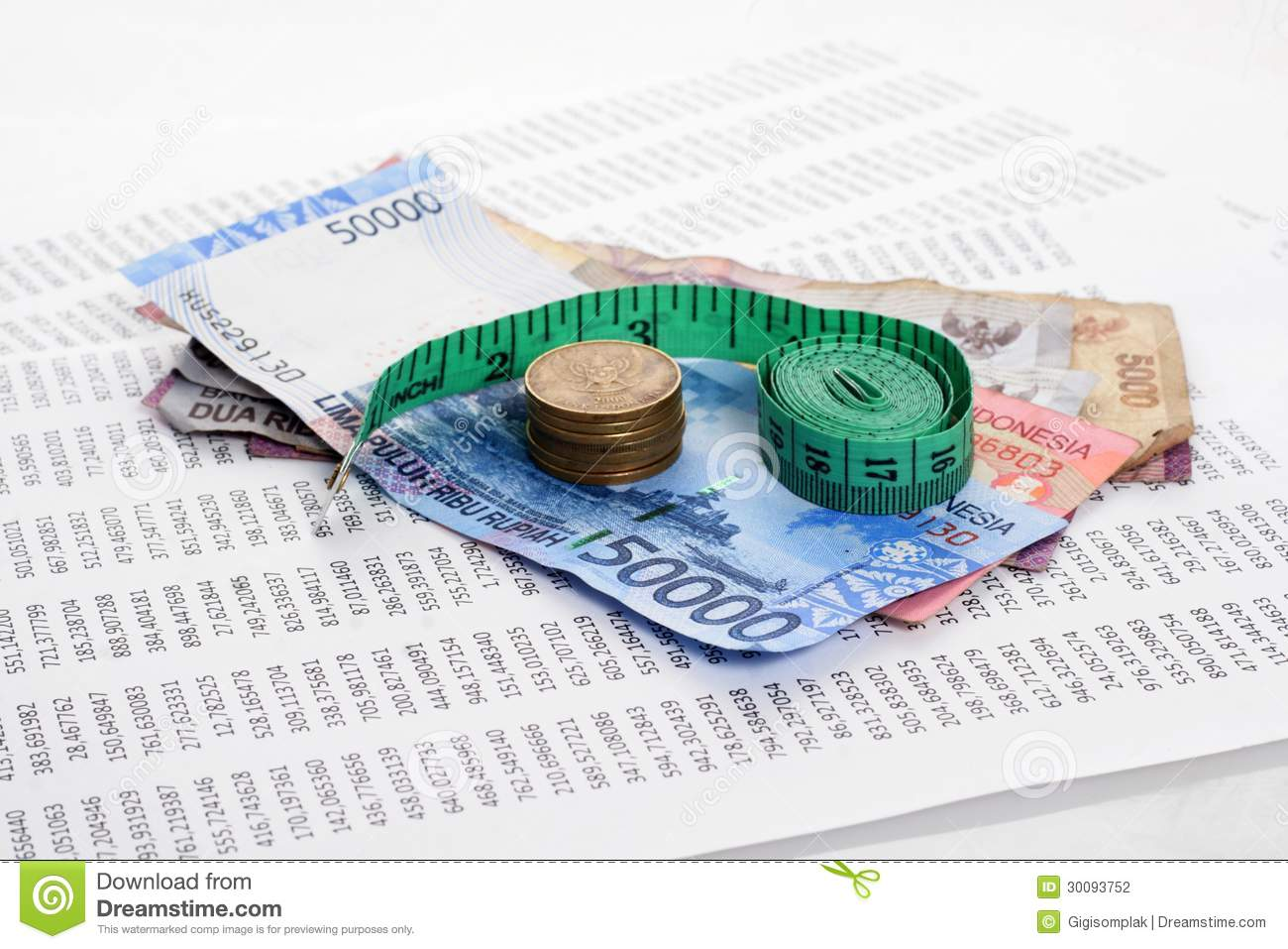Rupiah With Measure Tape Stock Photo Image Of Economy