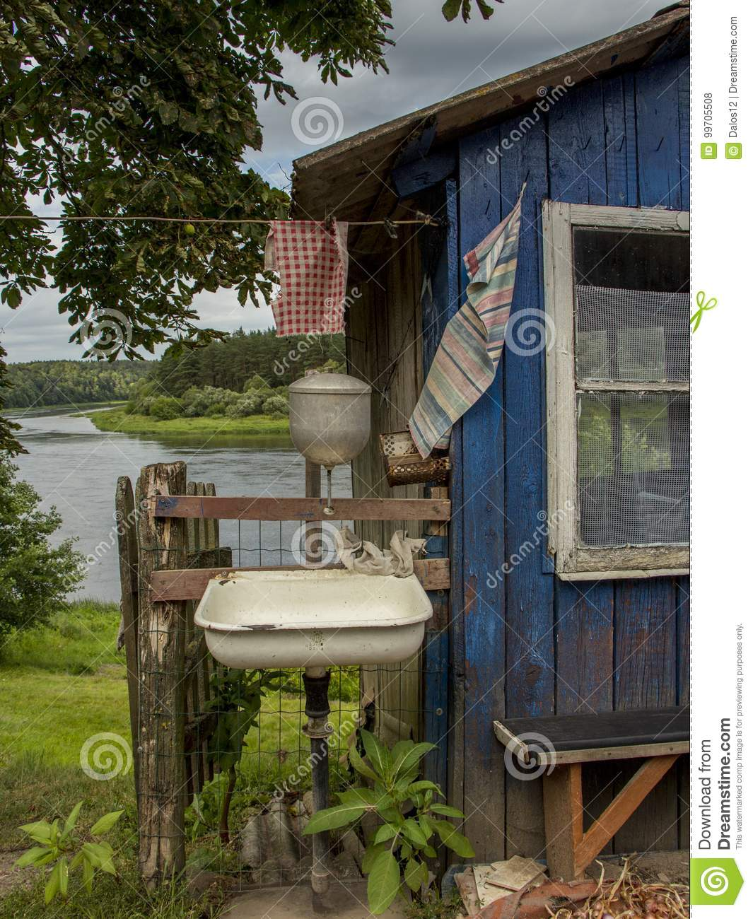 https www dreamstime com rural landscape wooden outdoor kitchen village lithuania europe old style living conditions villagers part bathroom just image99705508