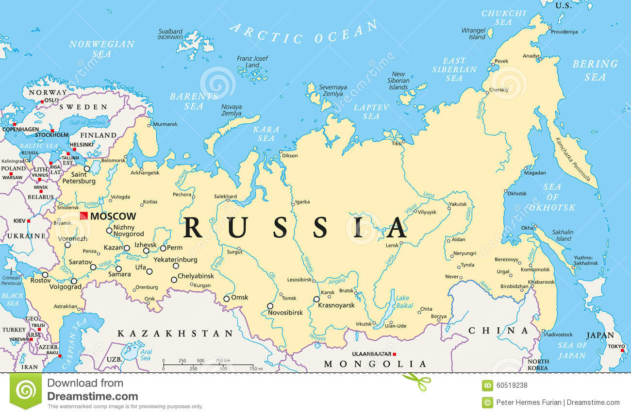Russia Political Map Stock Vector Illustration Of