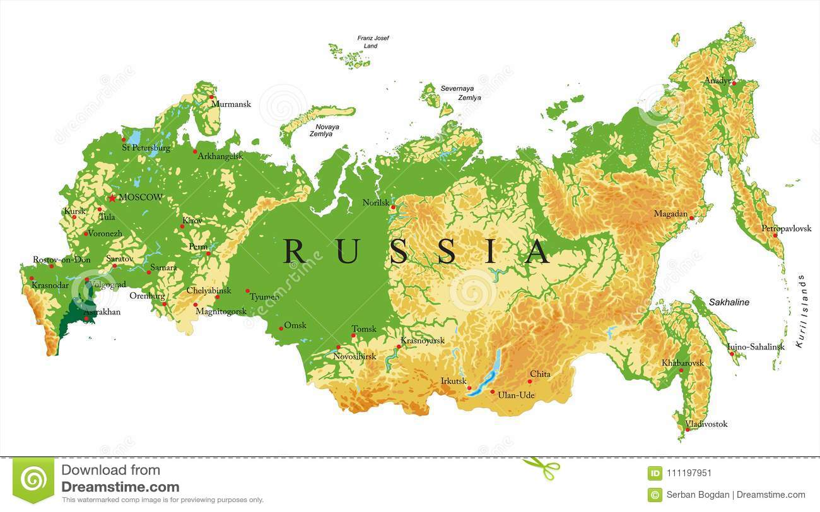 Russia Relief Map Stock Vector Illustration Of Krai