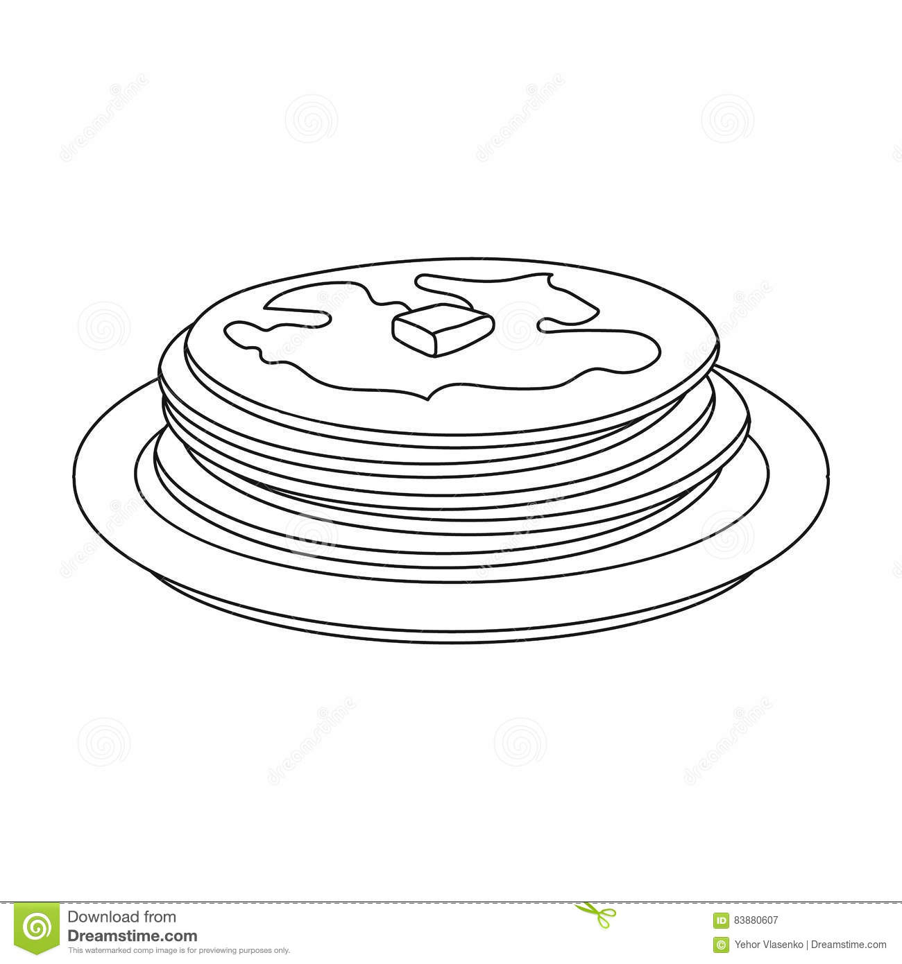 Russian Pancakes Icon In Outline Style Isolated On White