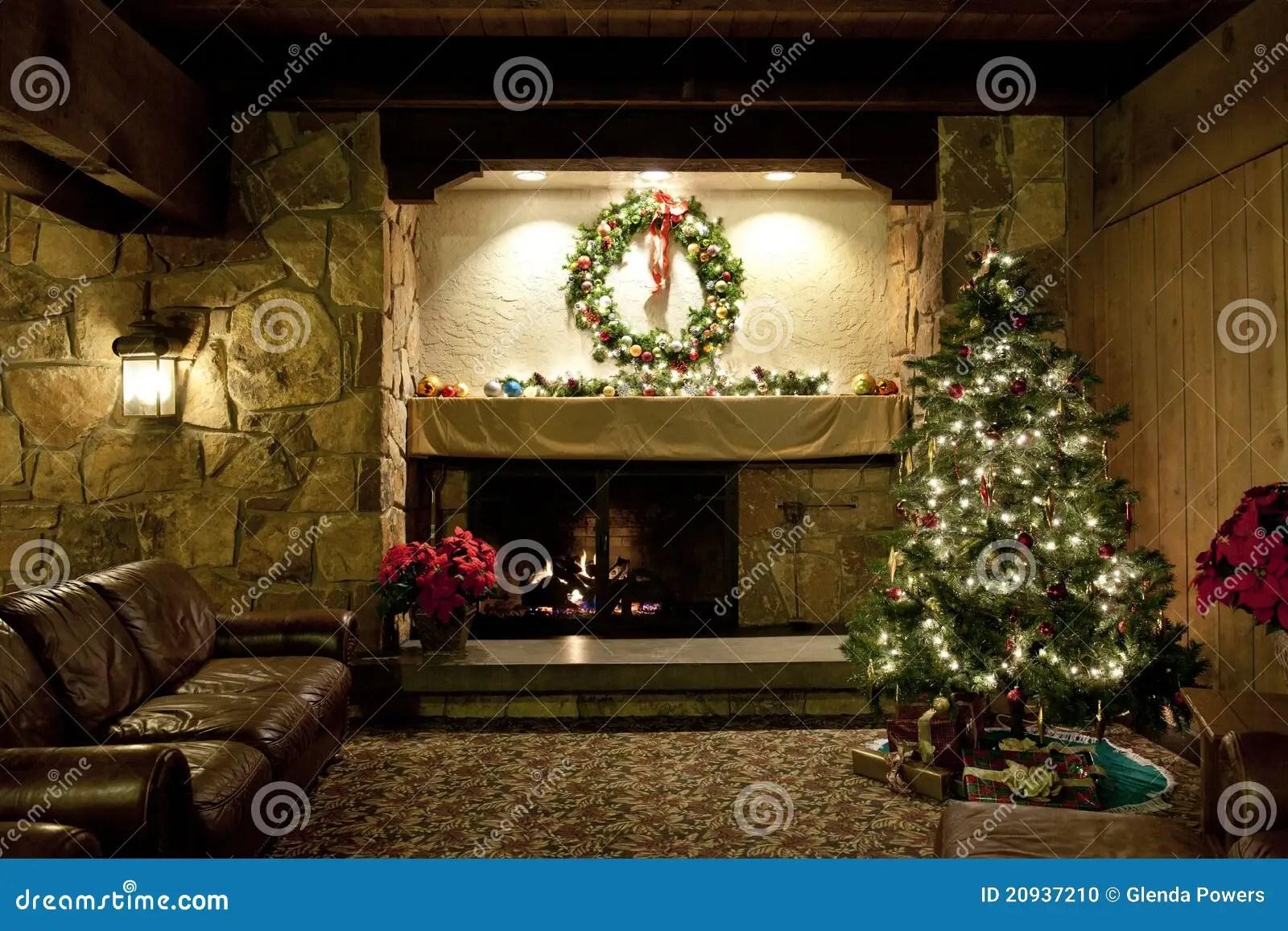 Rustic Christmas Living Room Stock Photo Image Of Carpet