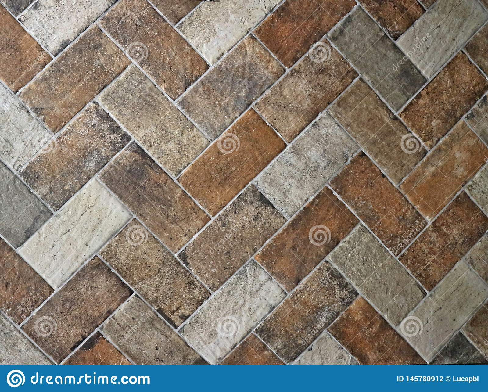 https www dreamstime com rustic floor texture made white brown terracotta tiles house interior rustic floor texture made white brown image145780912
