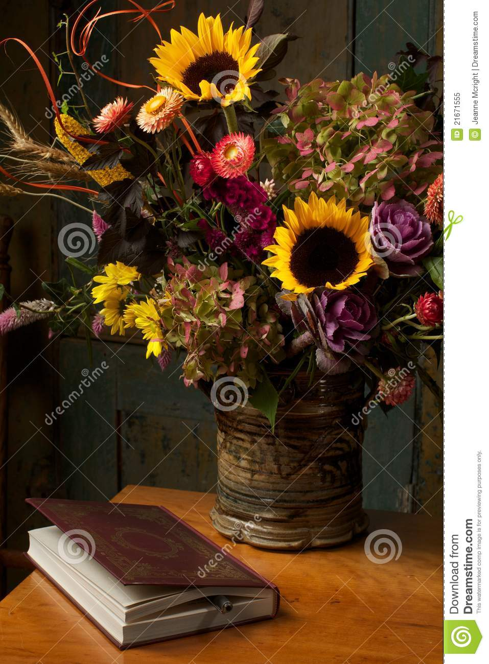 Rustic Still Life With Autumn Flowers And Book Stock Image