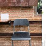 Rustic Wooden Chair Outdoor Cafe Stock Photo Image Of Brown Decoration 77761510
