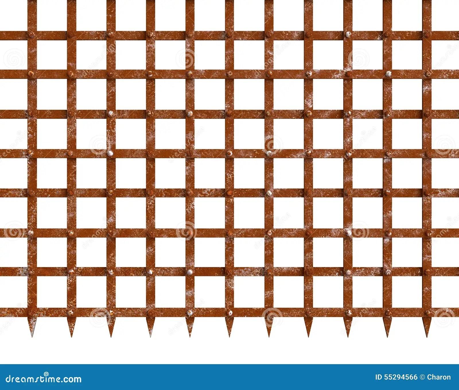 Rust Iron Gate Spiky Bottom Mesh Stock Photo Image 55294566