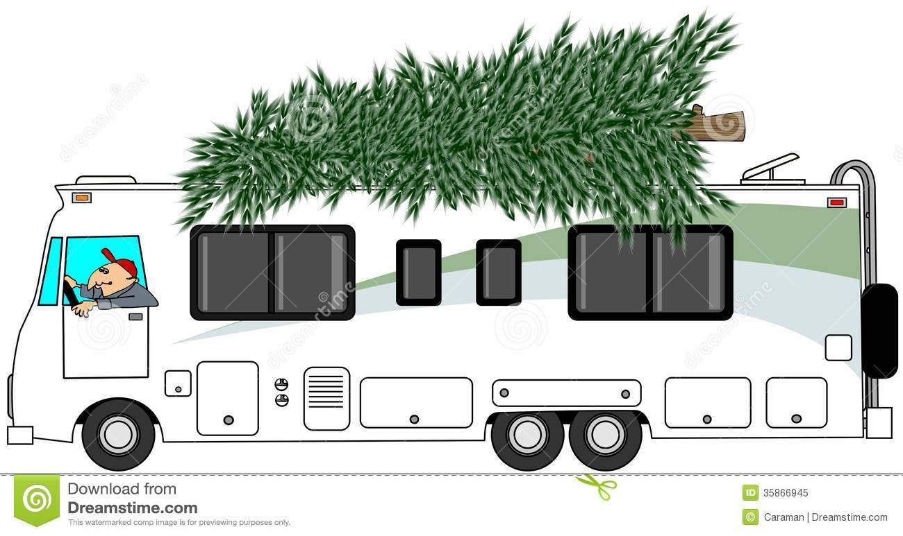 RV Delivering A Christmas Tree Stock Illustration Image
