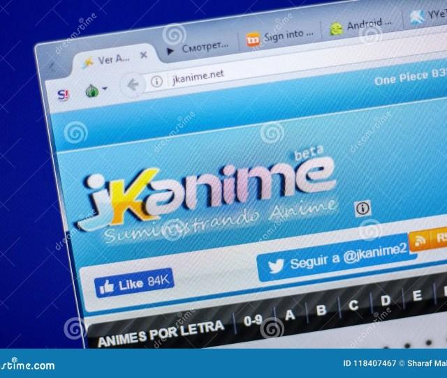 Ryazan Russia June 05 2018 Homepage Of Jkanime Website On The Display Of Pc Url Jkanime Net