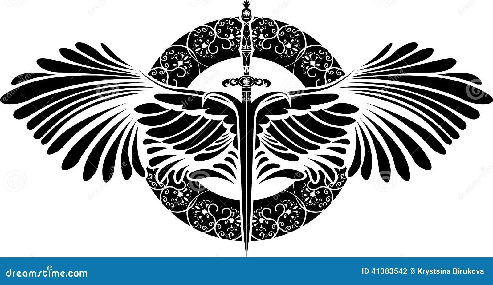 Simbolo Da Protecao Espada Com Asas Ilustracao Do Vetor