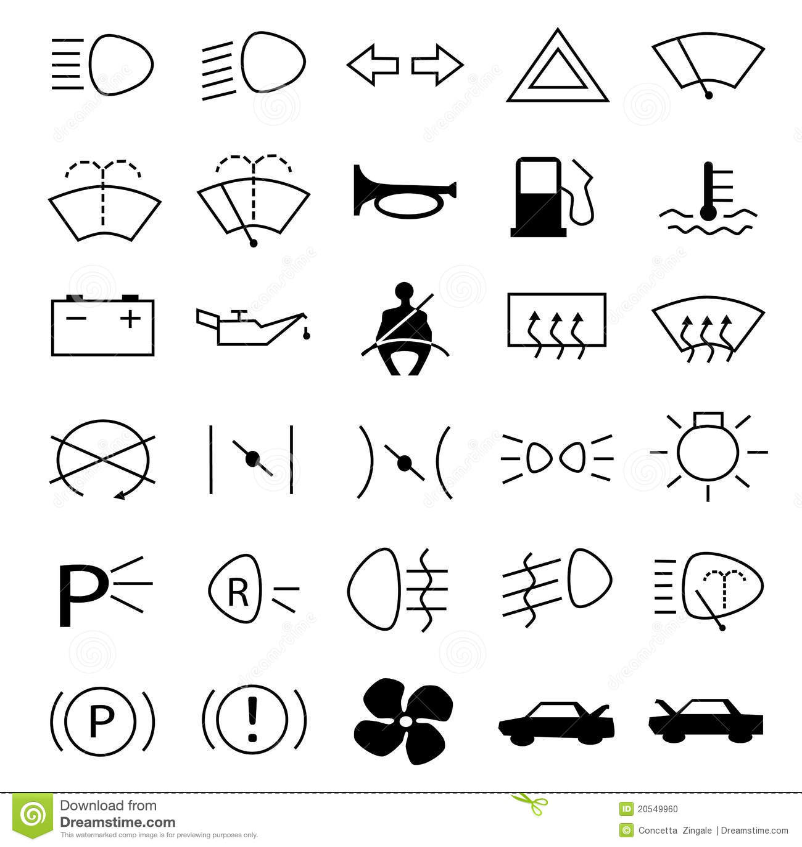 Simbolos De Advertencia Do Carro Foto De Stock