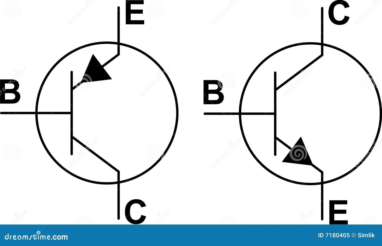 Simbolos Del Transistor Npn Pnp Foto De Archivo Libre De