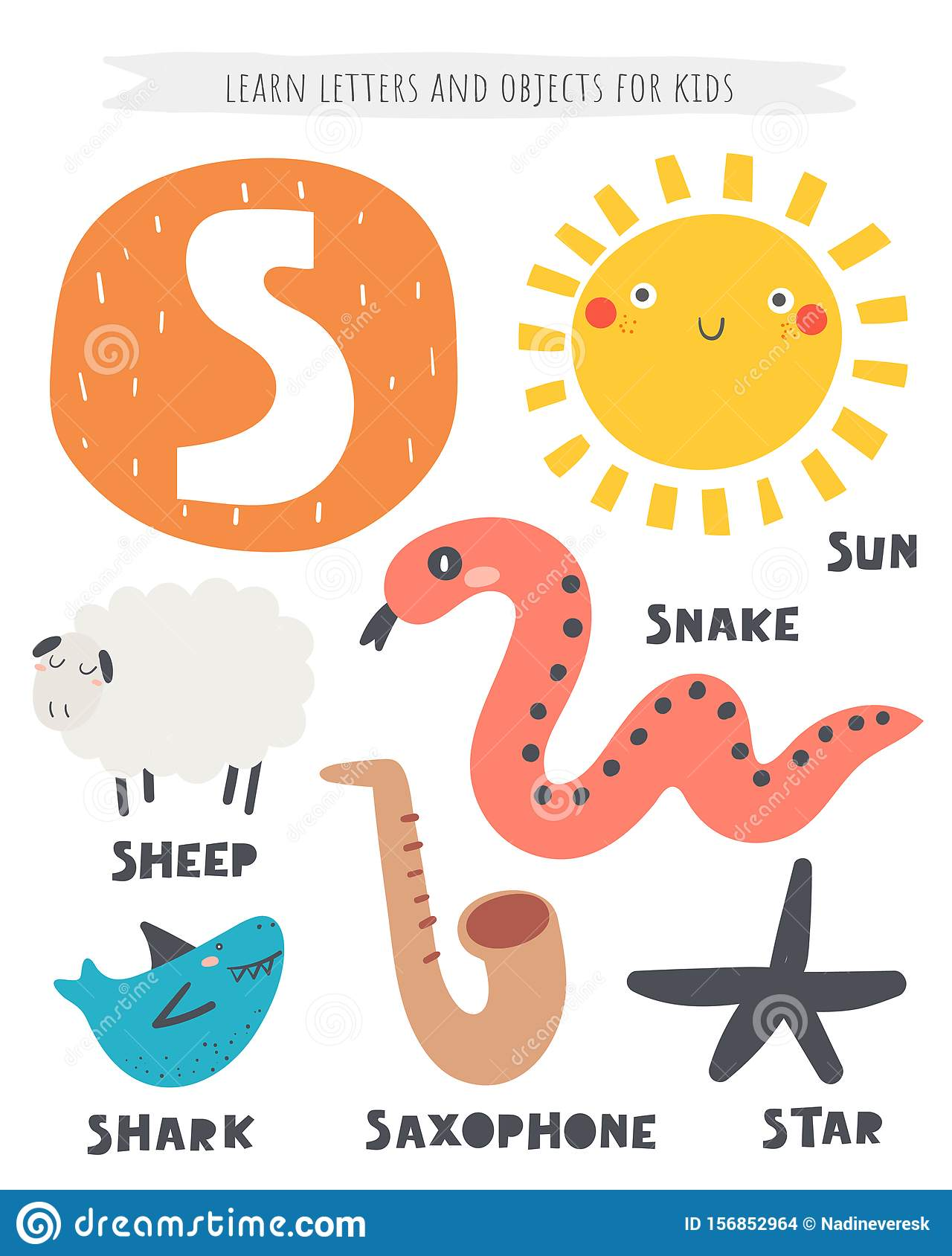 S Letter Objects And Animals Including Sheep Sun Snake