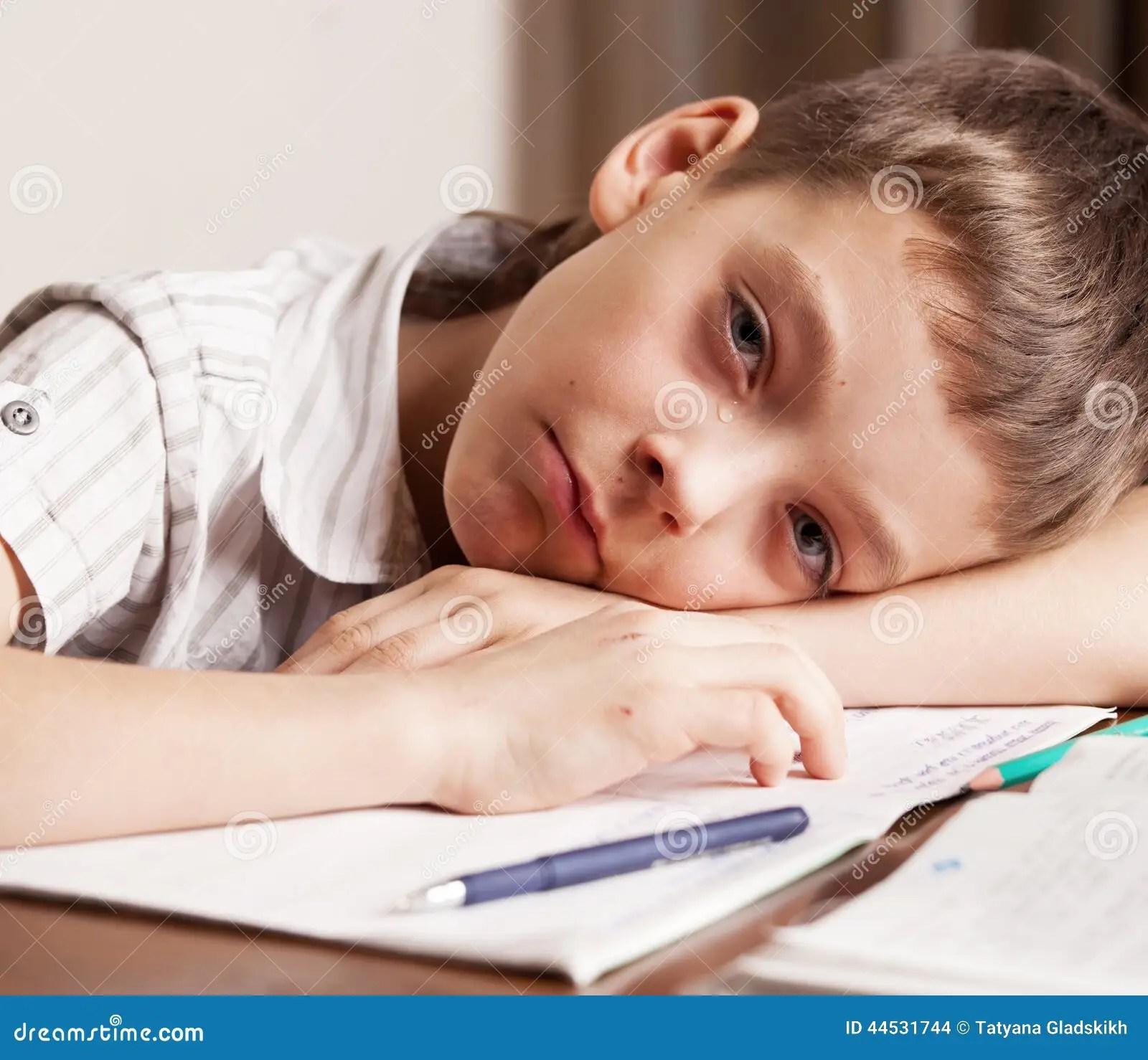 Girl Crying Doing Homework