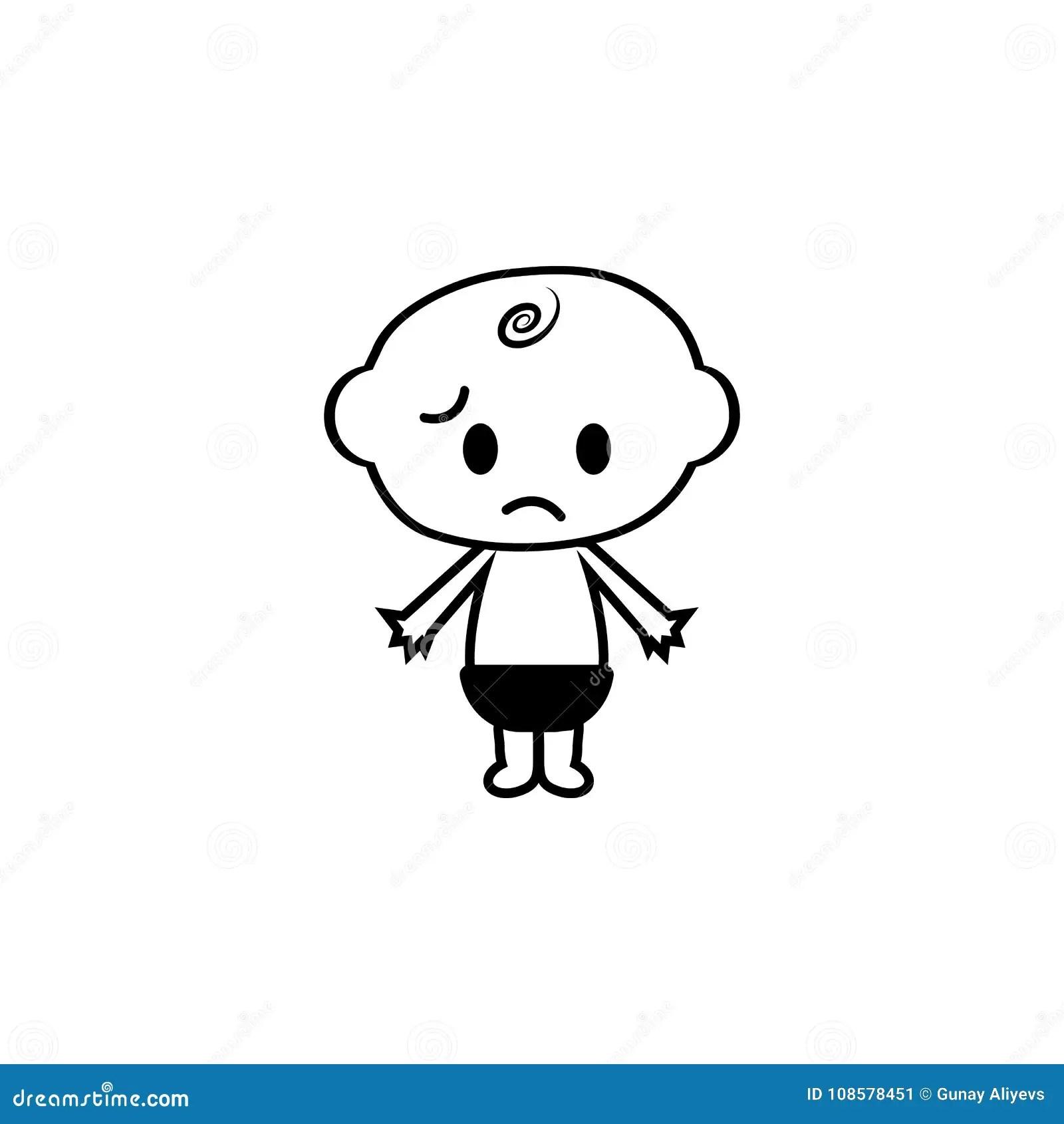 Sad Little Baby Child Boy Icon Stock Illustration