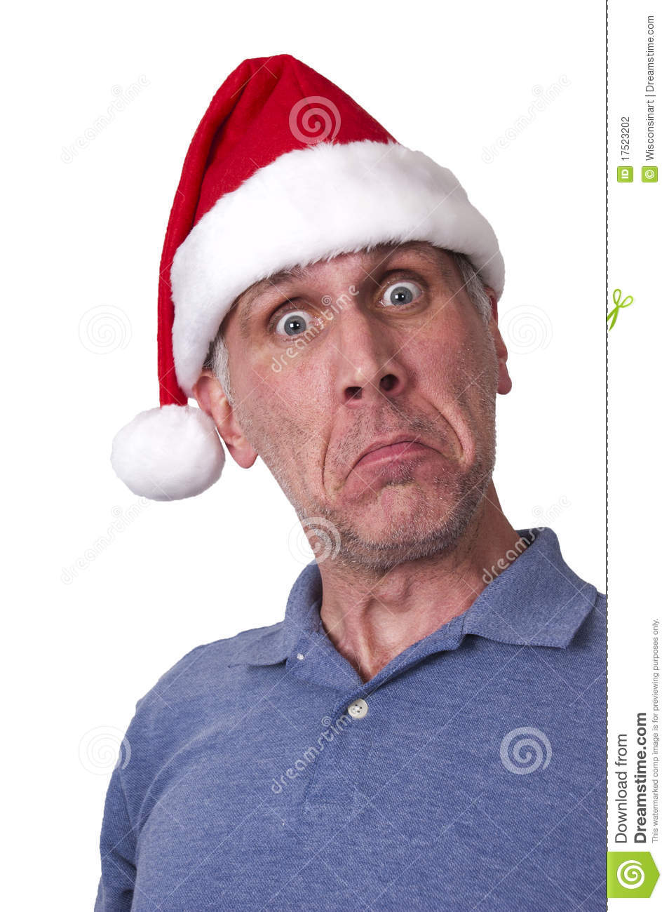Sad Man Santa Claus Hat Merry Christmas Xmas Stock Photo