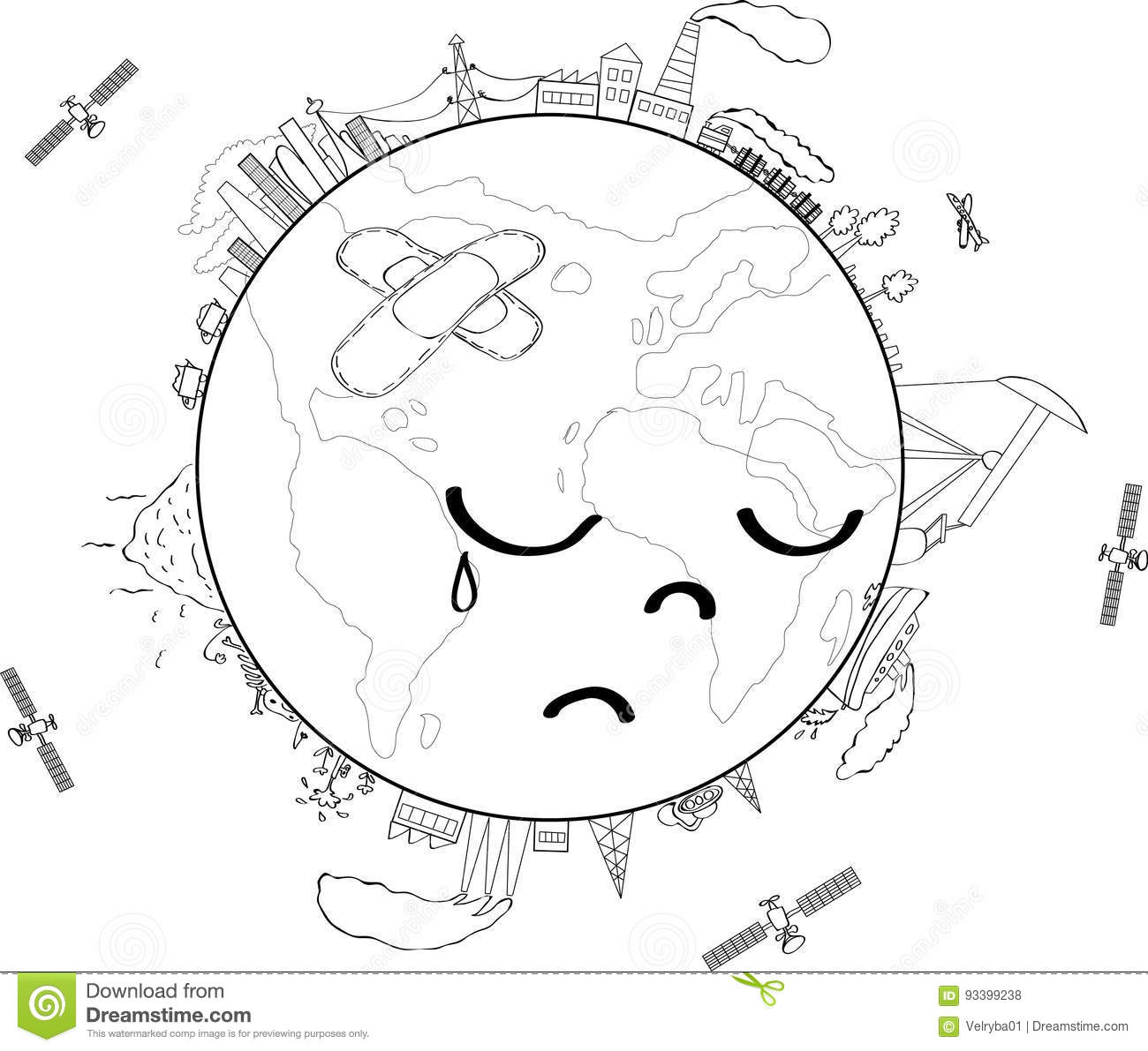 Sad Planet Earth Coloring Page Stock Vector