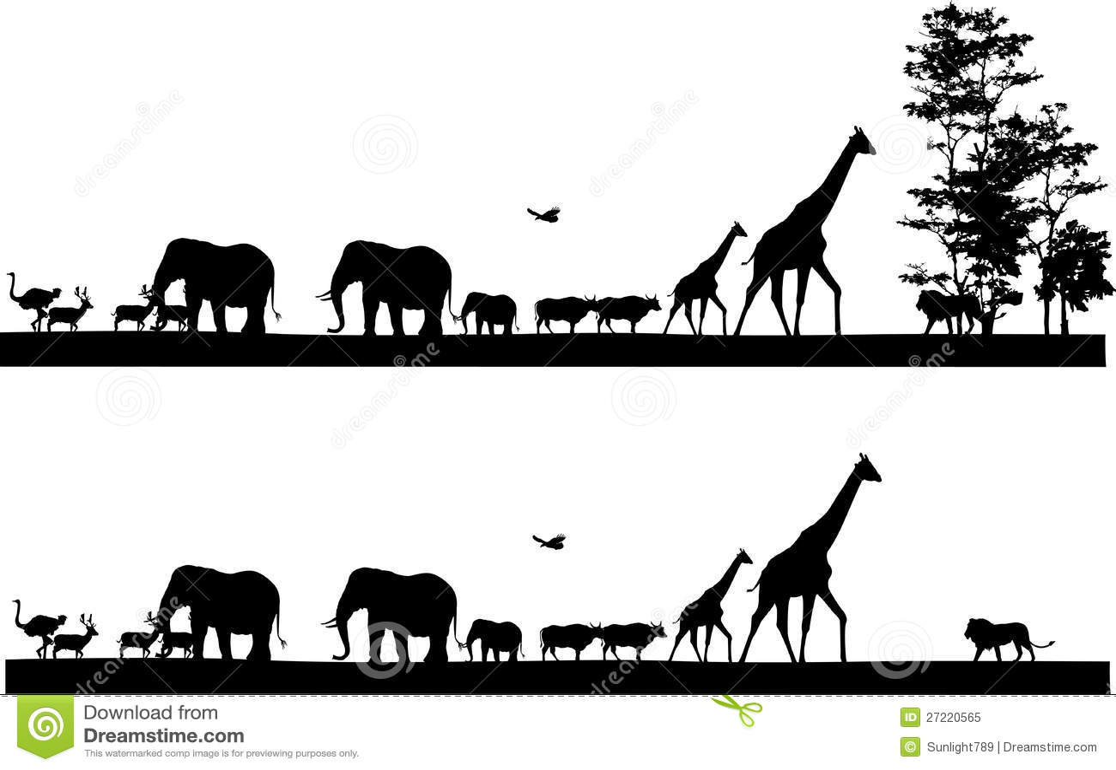 Safari Animal Silhouette Stock Illustration Illustration