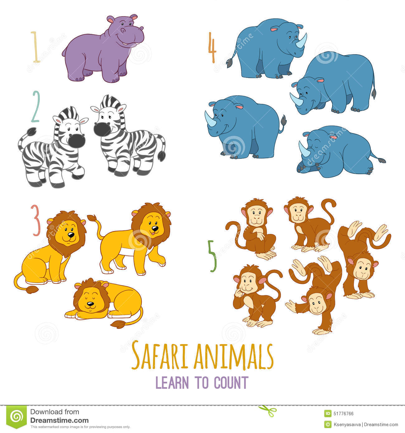 Safari Animals Learn To Count From One To Five Stock